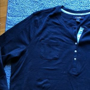 Chaps Navy Henley Top—NWT
